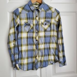 At Last cotton flannel button down shirt